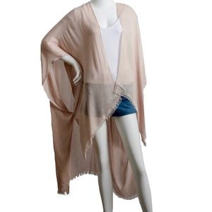 Other - Blush Open Grid Frayed Trim Arm Hole Kimono